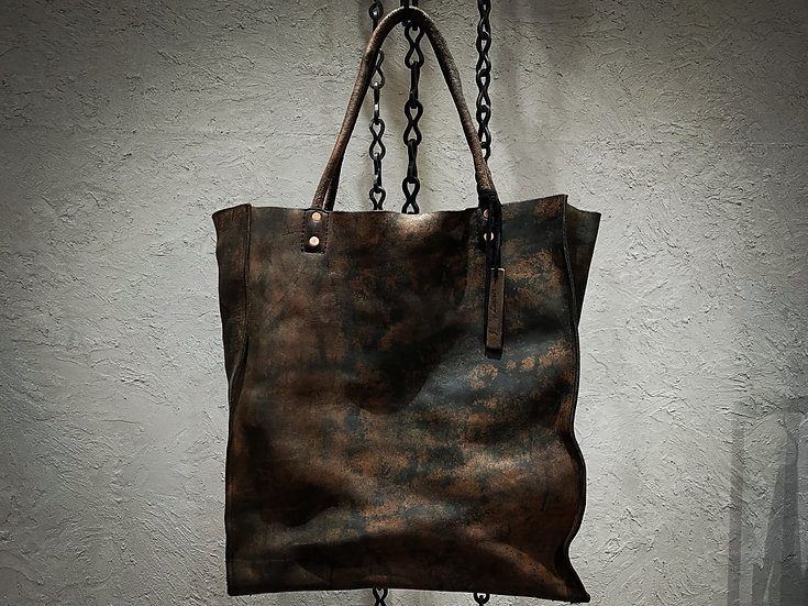 Rusty dyed big tote bag