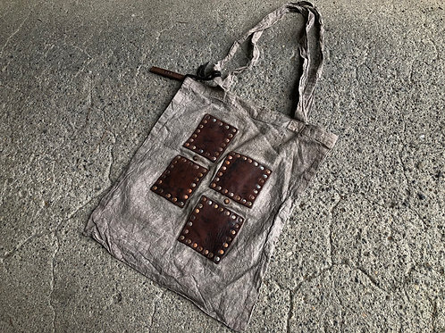 Hand dyed eco bag S size leather patch