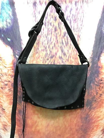 Oil leather patchwork shoulder bag