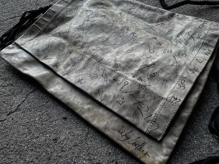 Cow leather graffiti shoulder bag