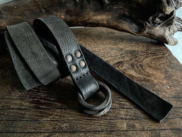 Antique finished W ring long belt 25mm