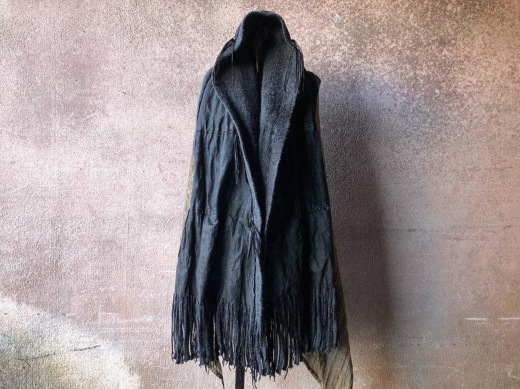 Mixed leather fringe stole