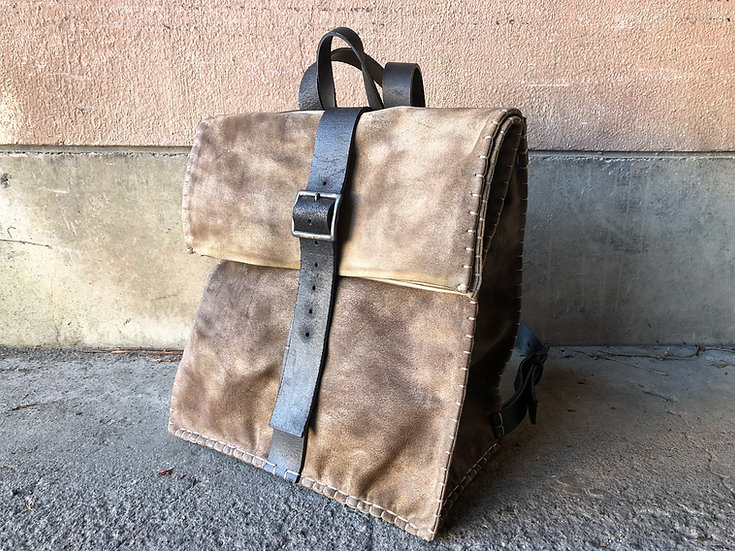 Wax burned suede roll backpack