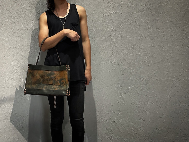 Rust dyed large lunch tote bag