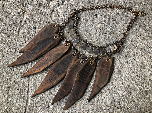 Leather spear necklace
