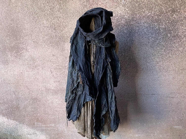 Mixed sheep garment dyed leather stole [BL]
