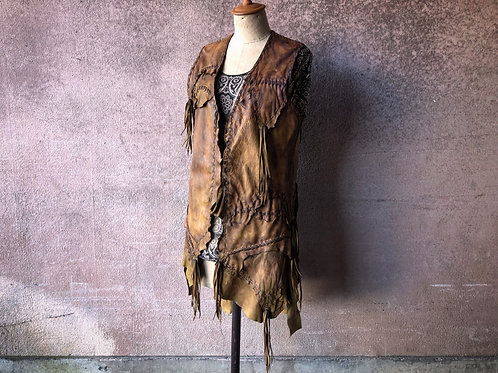 Calf garment dyed gypsy leather vest [DC]