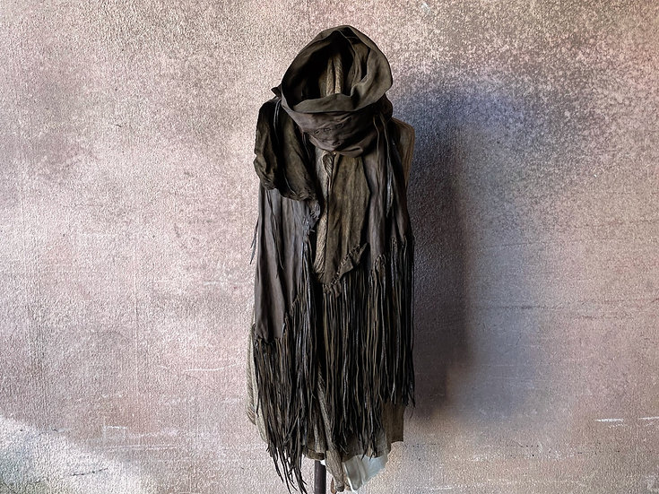 Oiled sheep garment dyed fringe stole [KB]
