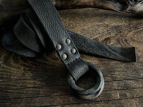 Antique finished W ring long belt 28mm