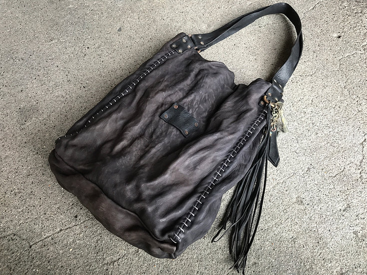 Dark indigo sheep leather tote bag
