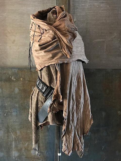 Sheep reversible leather big stole