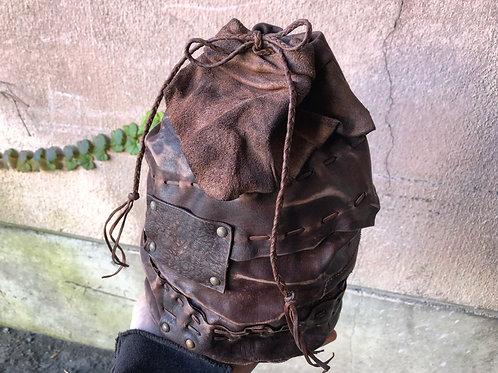 """Leather """"Kinchaku"""" saving bank [L]"""