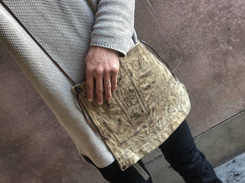 Rust dyed patchwork bag