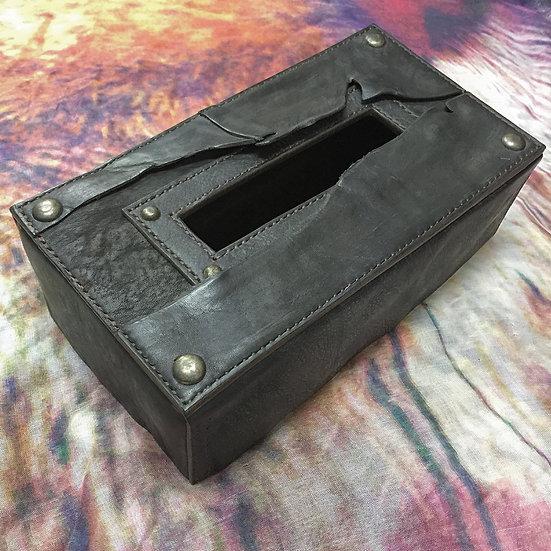 Antique leather tissue box