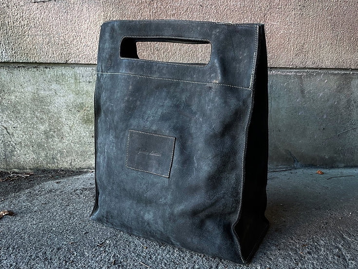 Cow leather big lunch bag
