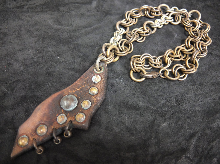 Junk leather brass necklace