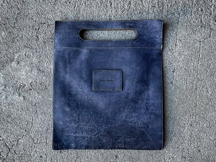 Cow leather flat tote bag
