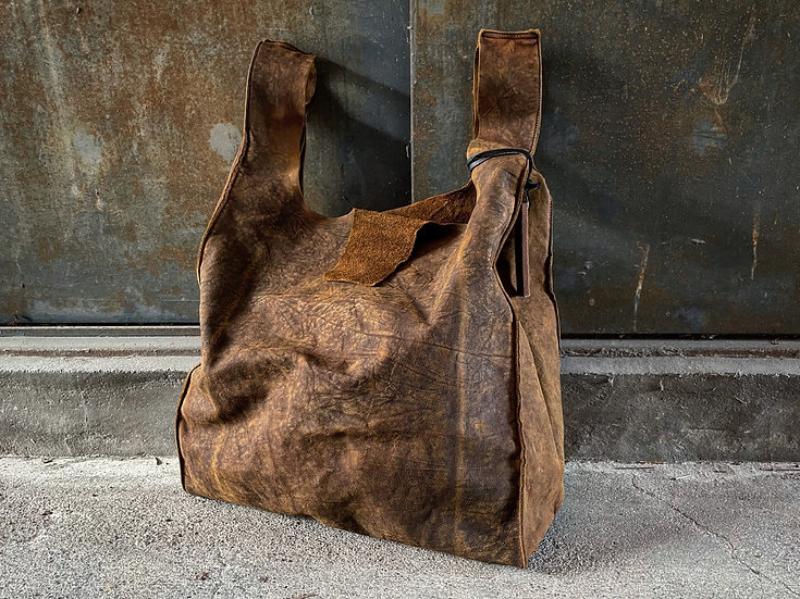 Aged oil nuback vintage shopping bag