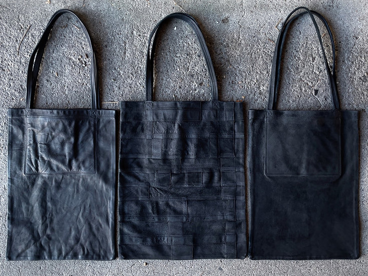 Patchwork waxed reverse leather tote bag
