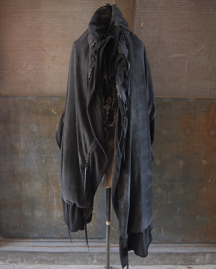 Sheep suede leather big poncho stole
