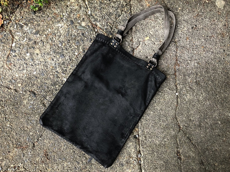 Waxed leather  hand stitched tote