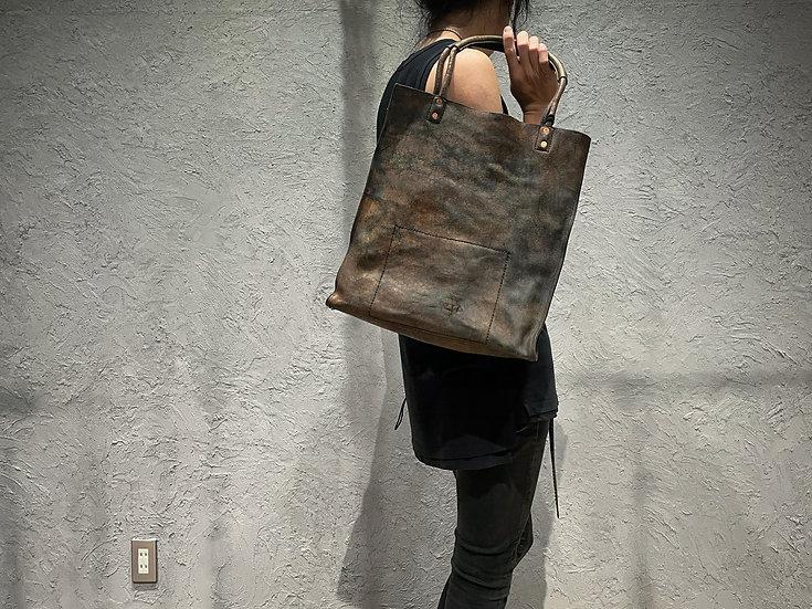 Rust dyed hard cracking big tote bag