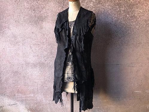 Calf leather gypsy vest [BL]