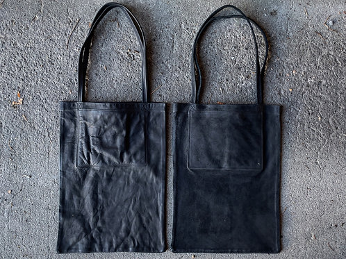 Cow leather big tote bag
