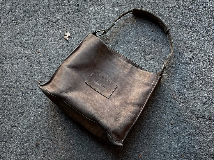 Cow leather lunch bag