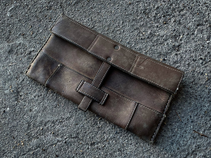 Cow leather patchwork pouch