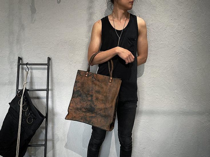 Rust dyed big tote bag