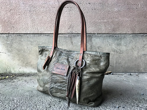Tan goat stitched tote bag