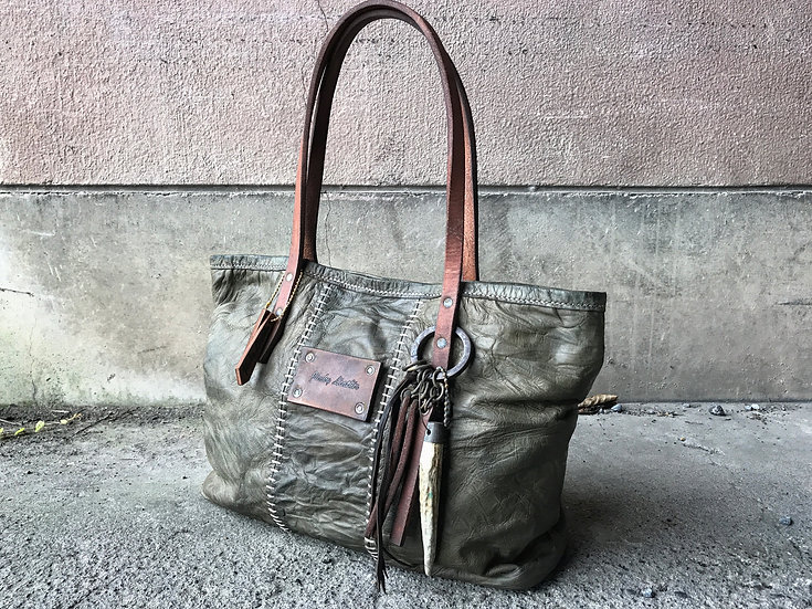 Tan goat stitched tote bag