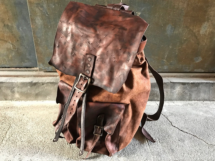 Antique leather backpack
