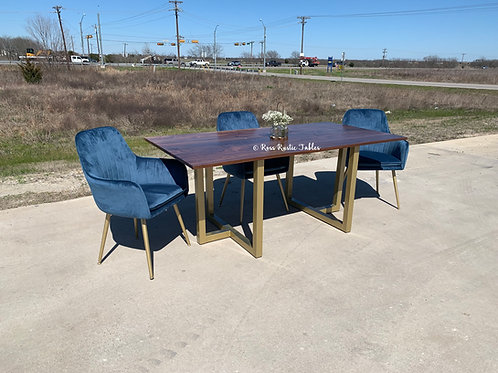 Greenberg Table in Walnut & Blue Velvet Chairs