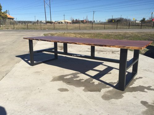 Live Edge Red Cedar With H Brace Metal Base - Metal base picnic table