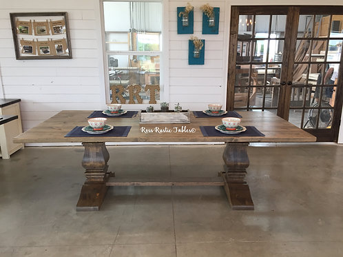 Rustic Trestle Table with Decorative Base