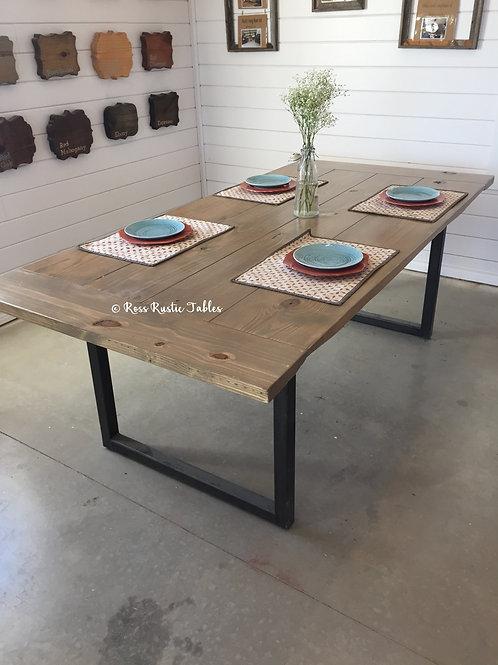 """Metal & Wood """"U"""" Leg Table"""