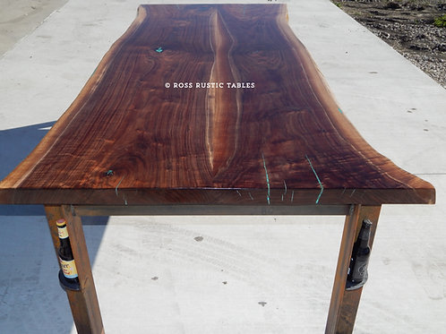 Live Edge Black Walnut Table with Turqouise Inlay