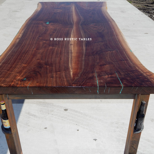 Superieur Live Edge Black Walnut Table With Turqouise Inlay