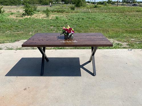 "Metal ""X"" Table w/Ash Top"