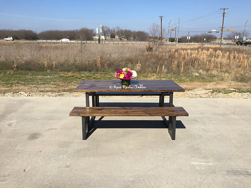"""METAL & WOOD """"U"""" STYLE TABLE WITH BENCHES"""