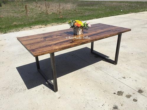 "Metal & Wood ""U"" Table"