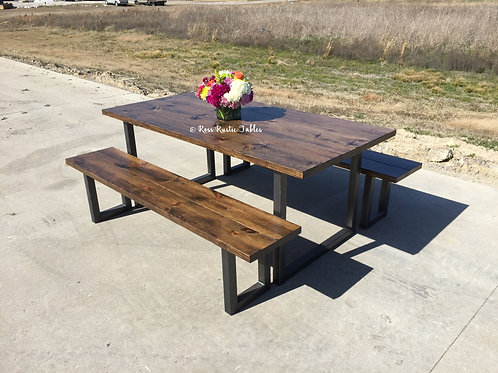 """U"" Leg Metal & Wood Table with Benches"
