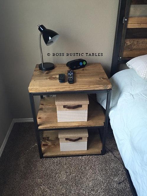 Metal & Wood Bedside Table