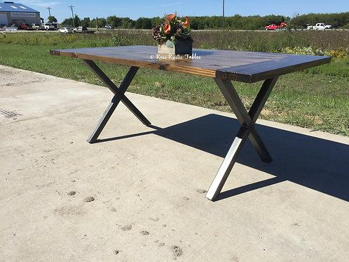 "Metal & Wood ""X"" Table"