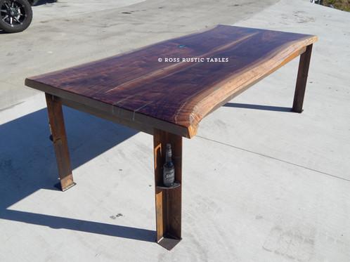 Amazing Live Edge Black Walnut Table With Turqouise Inlay