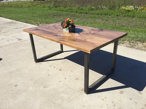 "Metal & Wood ""U"" Table w/ Eastern White Pine"
