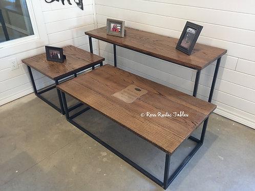 Oak Living Room Coffee Table & End Table