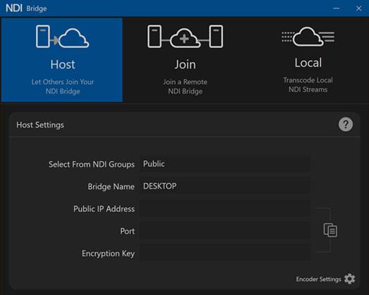 NDI Bridge configuration screen